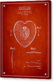 Purple Heart Patent From 1933 - Red Acrylic Print