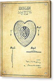 Purple Heart Patent From 1933 - Vintage Acrylic Print