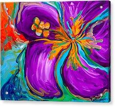Purple Hibiscus Acrylic Print by Beth Cooper