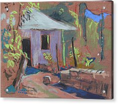 Acrylic Print featuring the painting Purple House by Linda Novick