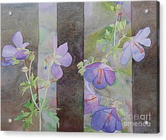 Acrylic Print featuring the painting Purple Ivy Geranium by Laurel Best