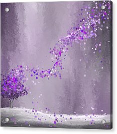 Purple Landscape- Purple Impressionist Painting Acrylic Print by Lourry Legarde
