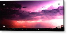 Purple Lightning Panorama Acrylic Print