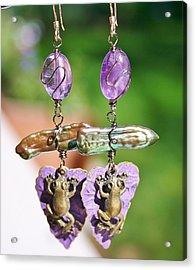 Purple Lily Pad Landing Earings Acrylic Print