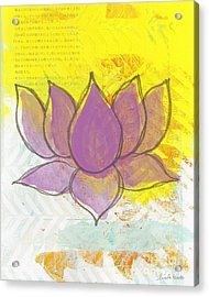 Purple Lotus Acrylic Print by Linda Woods