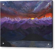 Purple Mountain Sunset Acrylic Print by Sandy Jasper