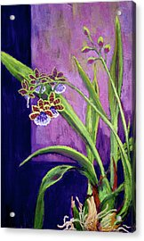 Acrylic Print featuring the painting Purple Orchids by Nancy Jolley