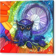 Acrylic Print featuring the painting Owl Meditate by Agata Lindquist