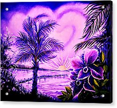 Acrylic Print featuring the painting Purple Palm by Yolanda Rodriguez