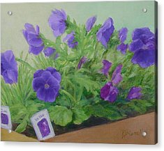 Purple Pansies Colorful Original Oil Painting Flower Garden Art  Acrylic Print