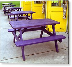 Purple Picnic Tables Yellow Doors Acrylic Print by Tom Brickhouse