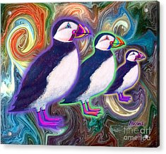 Acrylic Print featuring the mixed media Purple Puffins by Teresa Ascone