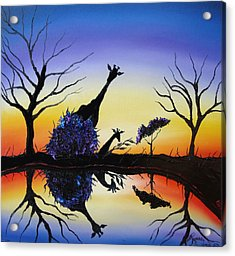 Purple Reflection Of Serengeti Acrylic Print by Portland Art Creations