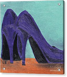 Acrylic Print featuring the painting Purple Shoes by Laurel Best