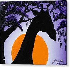Purple Sun Giraffe Acrylic Print by Portland Art Creations