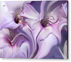Purple Swirl Abstract Gladiolas  Acrylic Print by Jennie Marie Schell