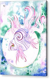 Purple Swirled Fairy Fish Acrylic Print by Heather Bradley