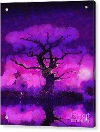 Purple Tree Of Life Acrylic Print by Pixel Chimp