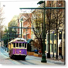 Purple Trolley Acrylic Print by Barbara Chichester