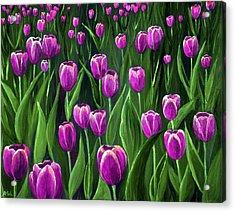 Purple Tulip Field Acrylic Print by Anastasiya Malakhova