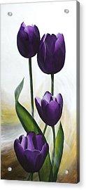 Purple Tulips Acrylic Print by Teresa Wadman