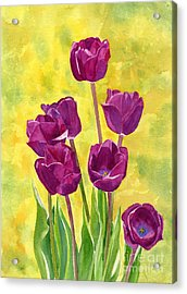 Purple Tulips With Textured Background Acrylic Print