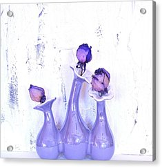 Purple Vases And Roses Acrylic Print by Marsha Heiken