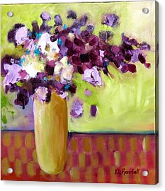 Purple White Flowers In Vase Acrylic Print by Donna Randall