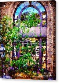 Purple Window Reflections Bethlehem Pa Acrylic Print by Janine Riley