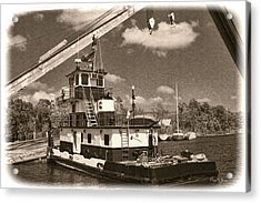 Push That Barge Acrylic Print by Barry Jones