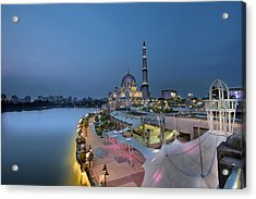 Putra Mosque At Blue Hour Acrylic Print by David Gn