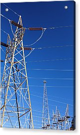 Pylons Taking Hydro Electricity Acrylic Print by Ashley Cooper