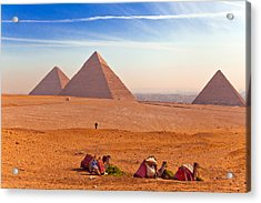 Pyramids And Camels Acrylic Print