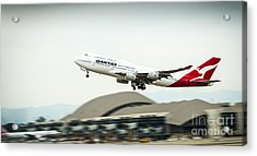 Qantas Boeing 747 Takes Off From Lax Acrylic Print