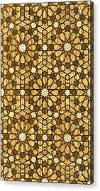 Qarawiyyin Mosque Geometric Pattern 1 Wood Acrylic Print by Hakon Soreide