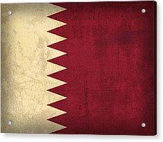 Qatar Flag Vintage Distressed Finish Acrylic Print by Design Turnpike