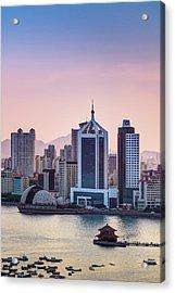 Qingdao Bay Sunset Scene Acrylic Print by Miragec