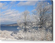 Quabbin Reservoir After Snowstorm Acrylic Print by John Burk