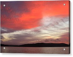 Quabbin Reservoir Sunrise Over Quabbin Hill Acrylic Print by John Burk
