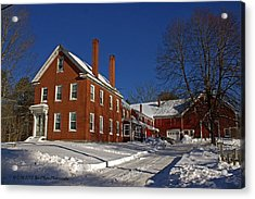 Quaint Maine Winter Farm Acrylic Print by Catherine Melvin