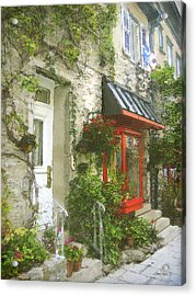 Quaint Street Scene Quebec City Acrylic Print by Ann Powell