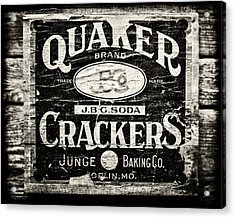 Quaker Crackers Rustic Sign For Kitchen In Black And White Acrylic Print by Lisa Russo