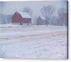 Quakertown Farm On Snowy Day Acrylic Print by Anna Lisa Yoder