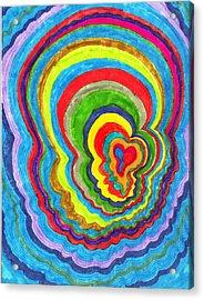 Quakey Breakie Heart Acrylic Print by Brenda Adams