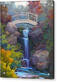 Quarry Hills Waterfall Acrylic Print by Carol Smith Myer