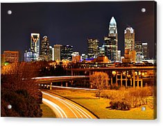 Queen City At Night Acrylic Print by Chris Gonyar