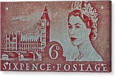 Queen Elizabeth II Big Ben Stamp Acrylic Print