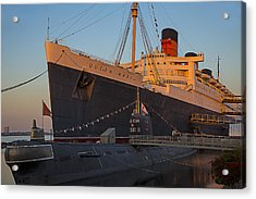 Queen Mary At Sunset Acrylic Print by Garry Gay