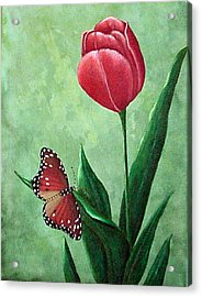 Queen Monarch And Red Tulip Acrylic Print