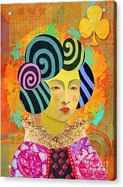 Queen Of Clubs Acrylic Print by Elena Nosyreva